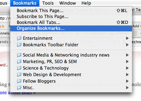 Organize Bookmarks in Firefox