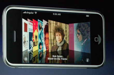 an artists impression of the Apple iPhone with the Cover Flow album artwork
