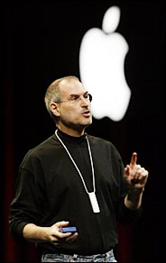 an image of Steve Jobs presenting with the Apple logo in the background