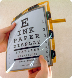 a sheet of electronic paper, displaying a graphic similar to an eye test