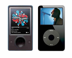 an image of the Microsoft Zune and Apple iPod portable music players