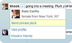 choosing to send a Private Message on Plurk