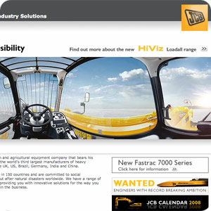 a preview of a JCB home page header